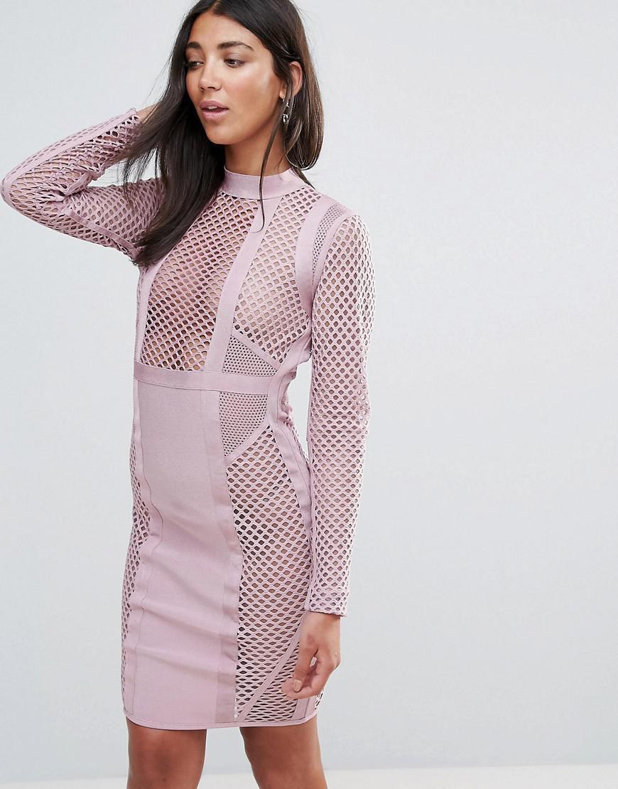 4ab2b7fe67ca Amy Lynn Occasion Long Sleeve Paneled Bandage Dress in Pink - Lyst