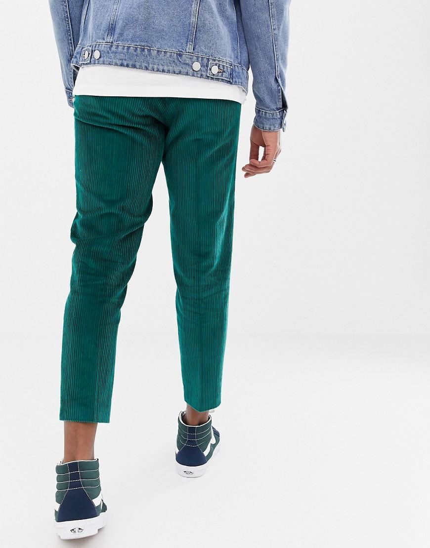 ASOS Denim Nette Smalle Cropped Broek Met Groenblauw Corduroy in het Groen voor heren