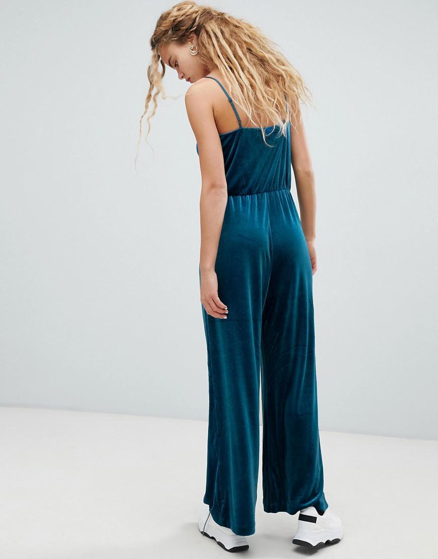 6729d6b9944 Weekday Velvet Cami Jumpsuit In Petrol Blue in Blue - Lyst