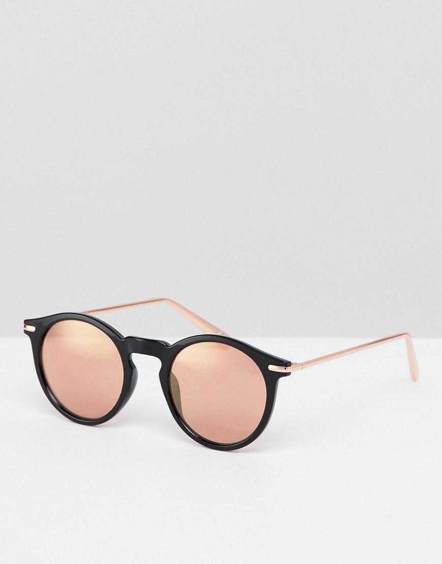 a051c2d057 ASOS - Black Gafas de sol redondas negras con lentes de espejo en dorado  rosa de. Ver en pantalla completa
