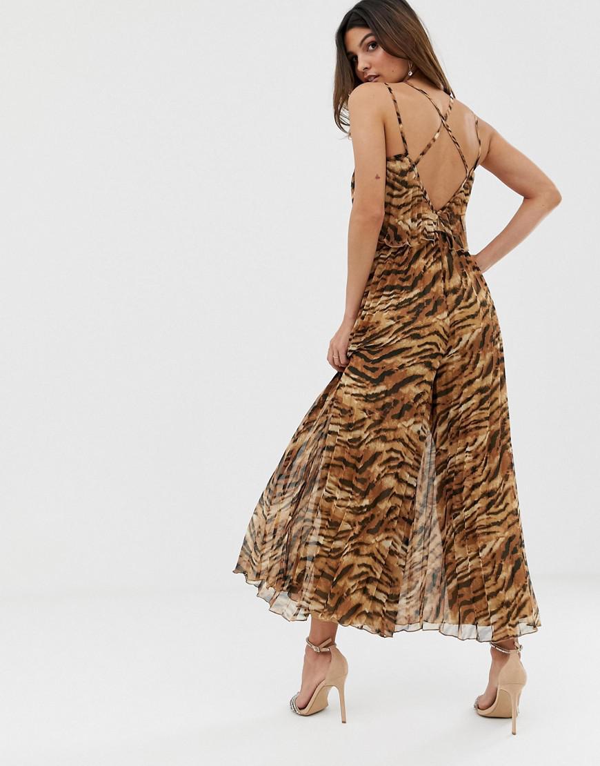 fef86fed84 Lyst - ASOS Pleated Crop Top Jumpsuit In Animal Print in Brown - Save 18%