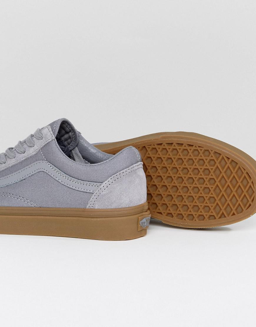 eaad0216 Vans Gray Suede Old Skool Trainers In Grey With Gum Sole