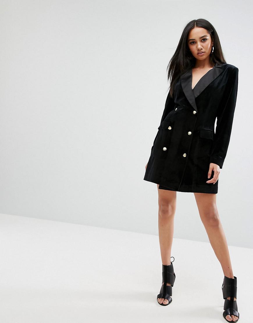 Missguided Velvet Button Detail Blazer Dress In Black Lyst