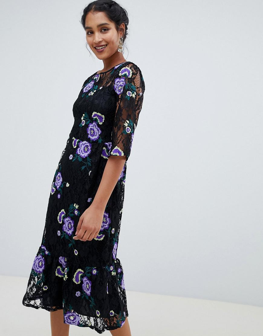 02ed56a58dd7 Closet 3 4 Sleeve Embroidered Midi Dress in Blue - Lyst