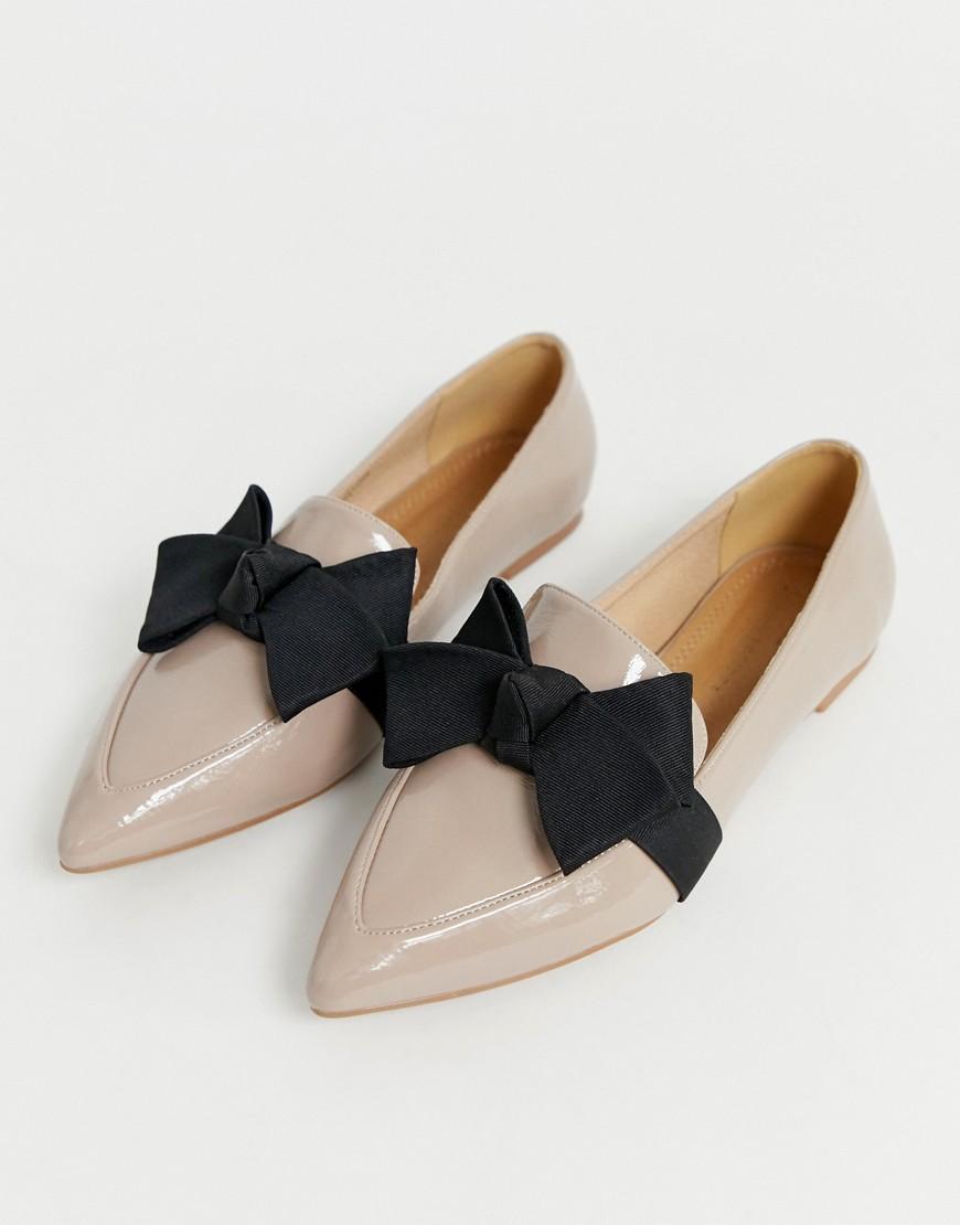 9d709b8edb5 Lyst - ASOS Ludo Bow Ballet Flats Loafers In Warm Beige in Gray