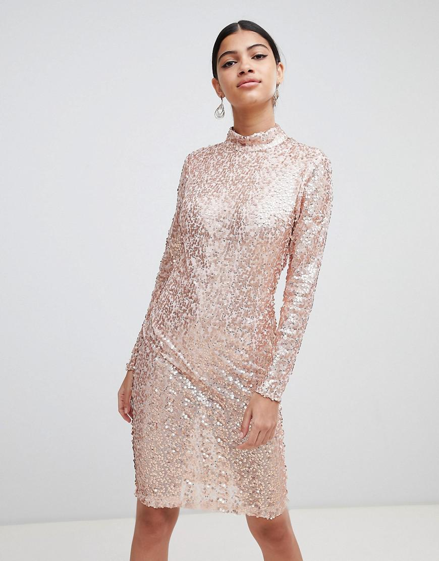 Ax Paris Sequin Bodycon Dress in Pink - Lyst b33371a24