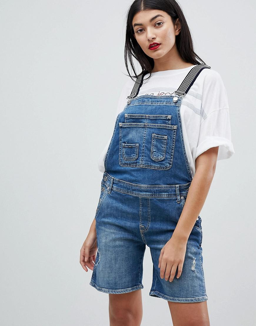 125beb72cad Pepe Jeans Dungaree Shortall With Stripe Straps in Blue - Lyst