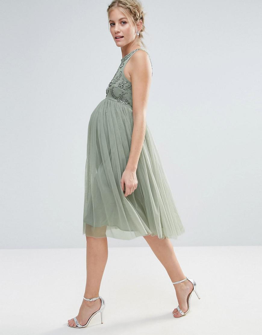 0249da5a3fc55 Maya Maternity Sleeveless Embellished Bodice Midi Dress With Tulle ...