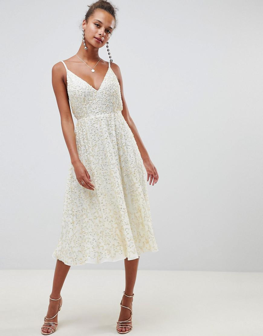 3957d62c5c Lyst - ASOS Delicate Sequin Midi Plunge Dress With Full Skirt in Natural