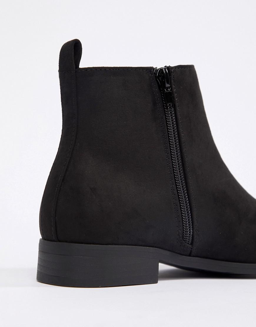 Truffle Collection Wide Fit Side Zip Low Boot in Black