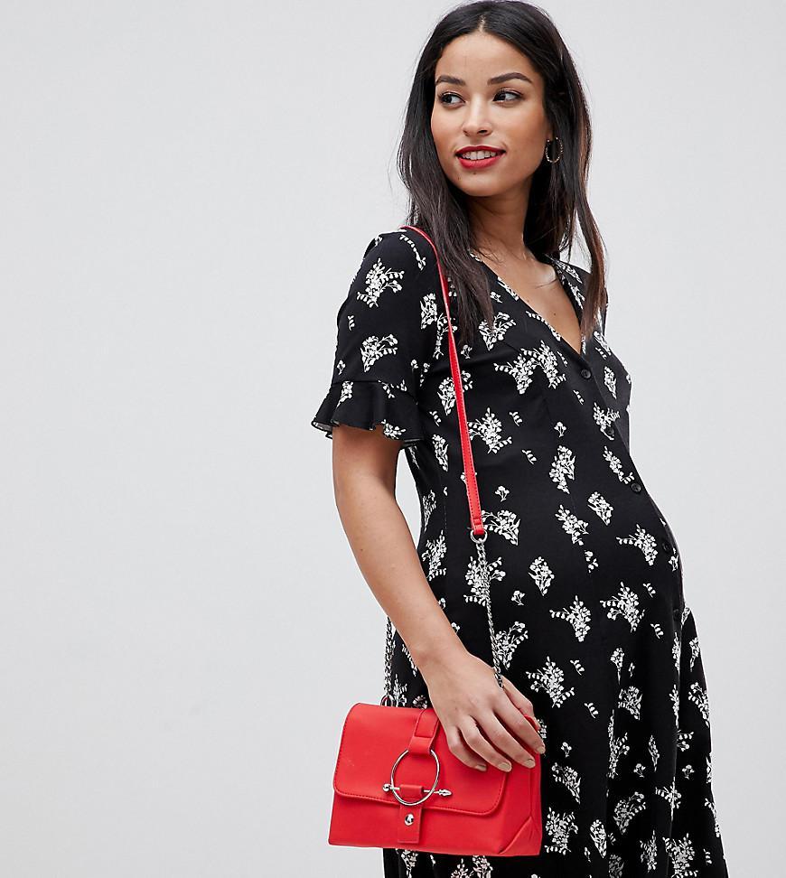 335c75b3b7422 ASOS. Women's Black Asos Design Maternity Button Through Tea Dress With  Frill Sleeve In Floral Print