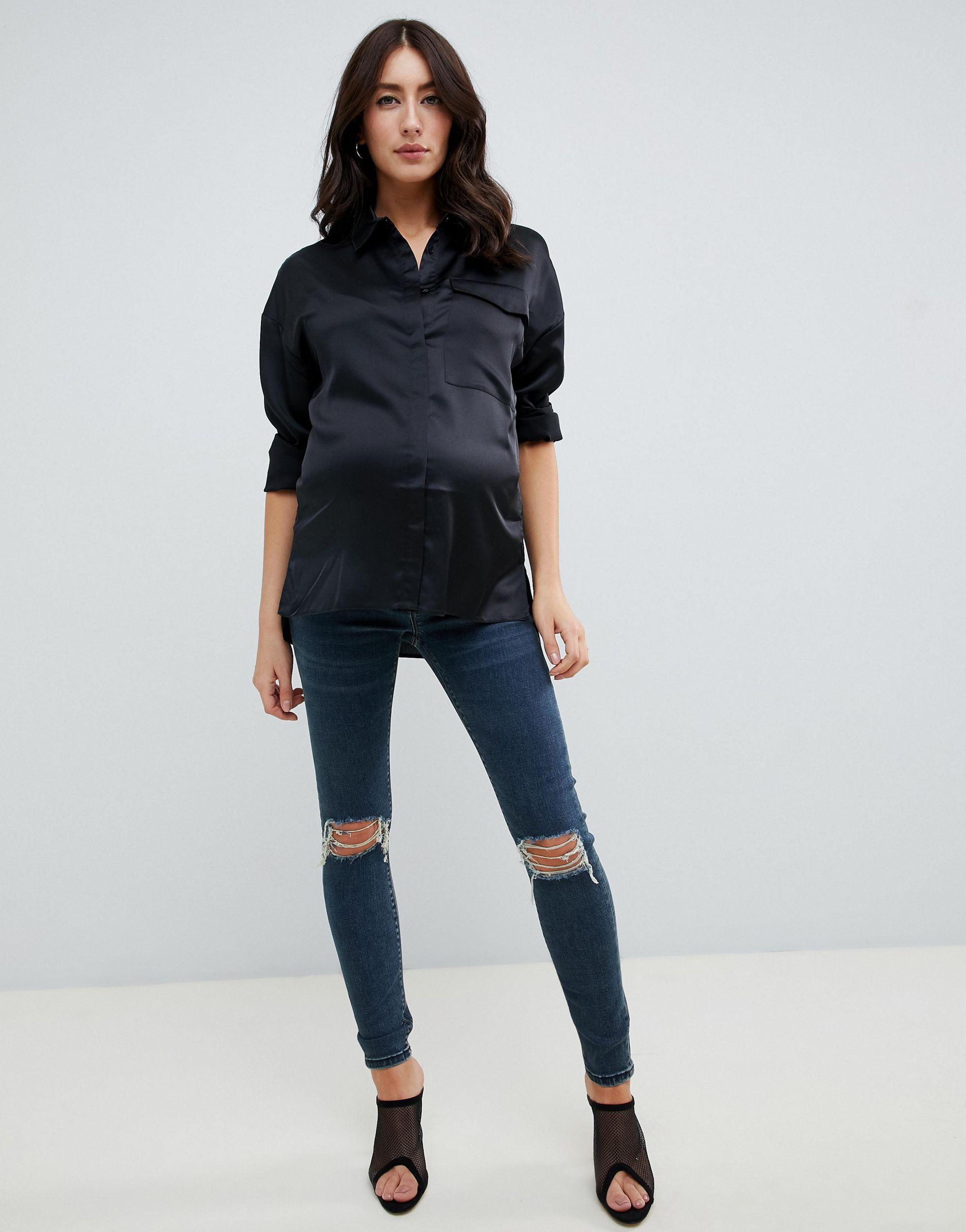 ASOS DESIGN Maternity - Ridley - Jean skinny taille haute à genoux déchiré - délavé London Jean ASOS en coloris Bleu