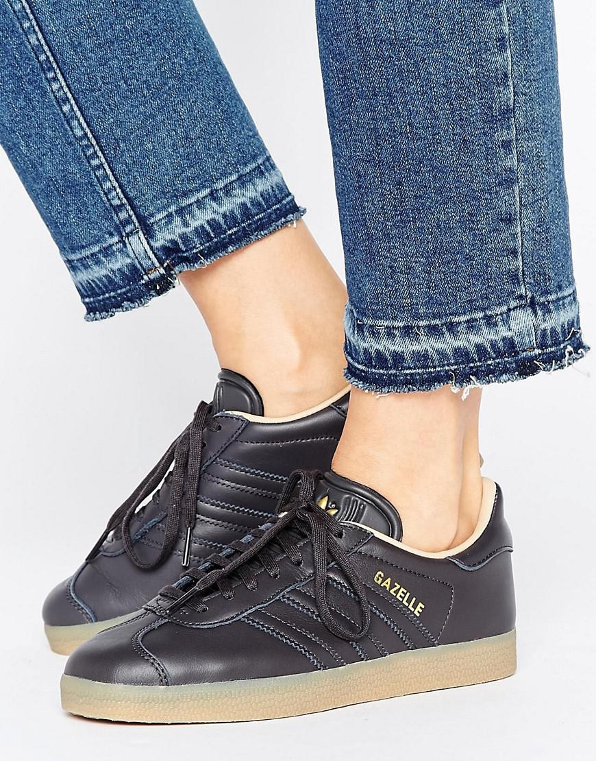 Originals Black Leather Gazelle Sneakers With Gum Sole