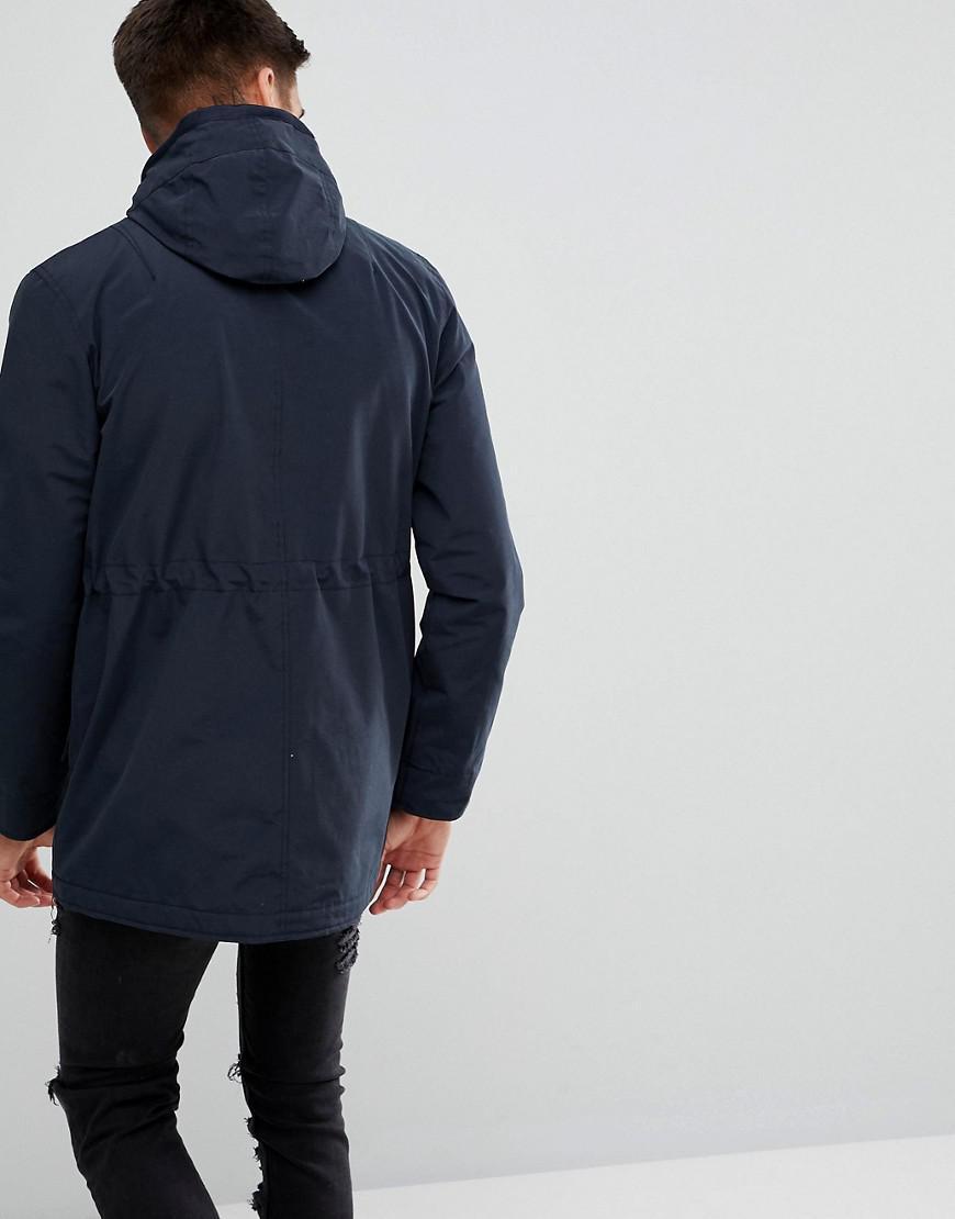 Lyle & Scott Microfleece Parka Jacket In Dark Navy in Blue for Men