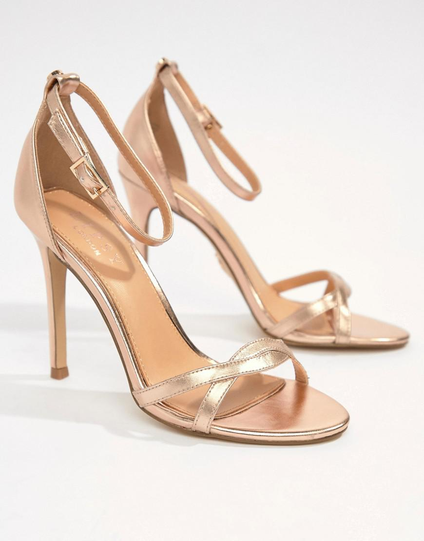 8753892415d Lipsy Twist Strap Barely There Sandal in Metallic - Lyst