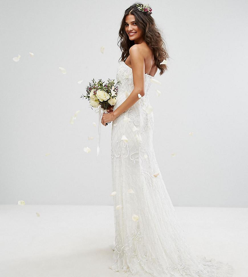 Amelia Rose Bridal Embellished Bandeu Maxi Dress With Button Back - Lyst