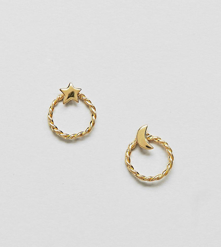Lyst - Asos Gold Plated Sterling Silver Moon And Star Hoop Stud ...