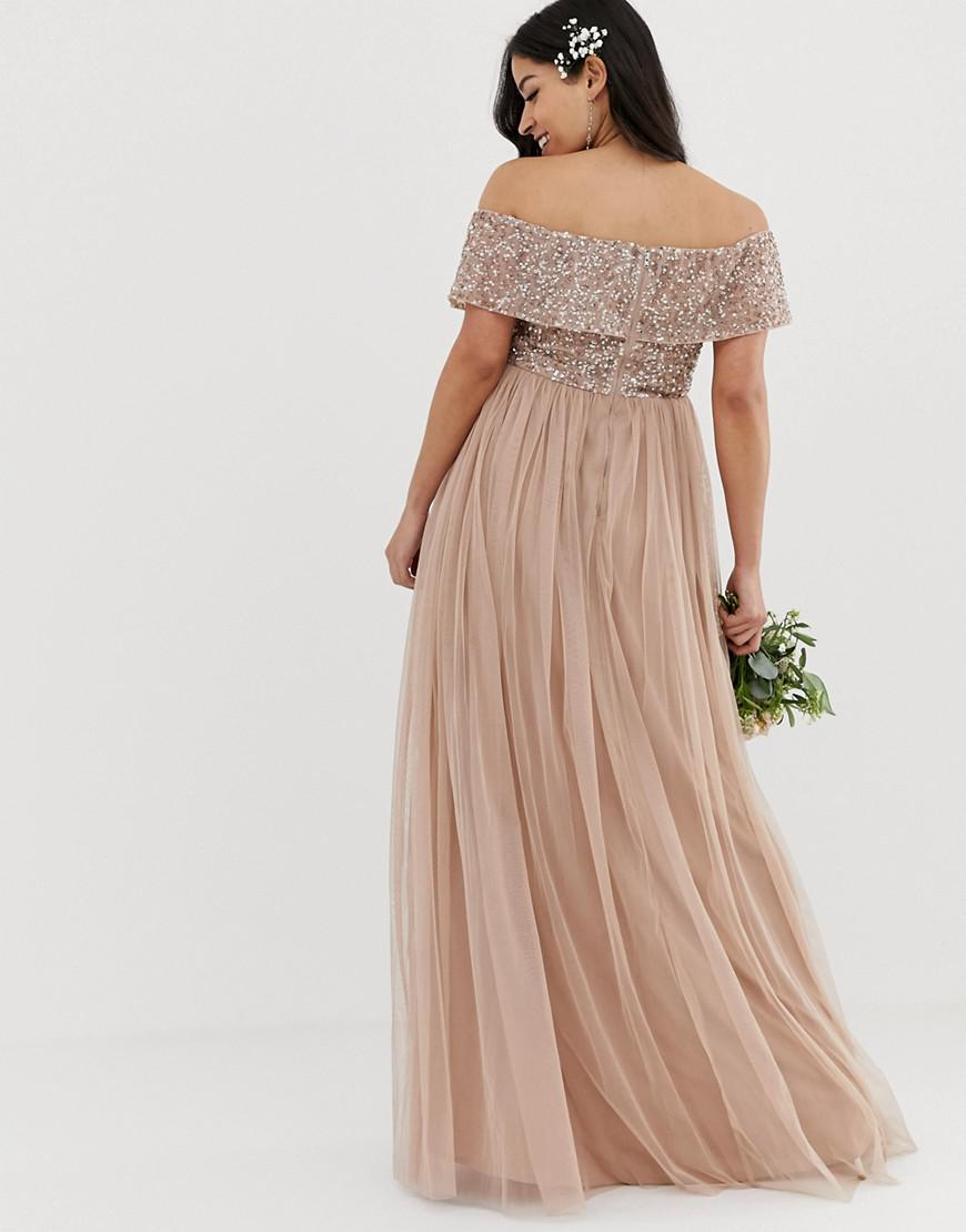 23ffa011cf45 Lyst - Maya Maternity Bridesmaid Bardot Maxi Tulle Dress With Tonal  Delicate Sequins In Taupe Blush in Brown