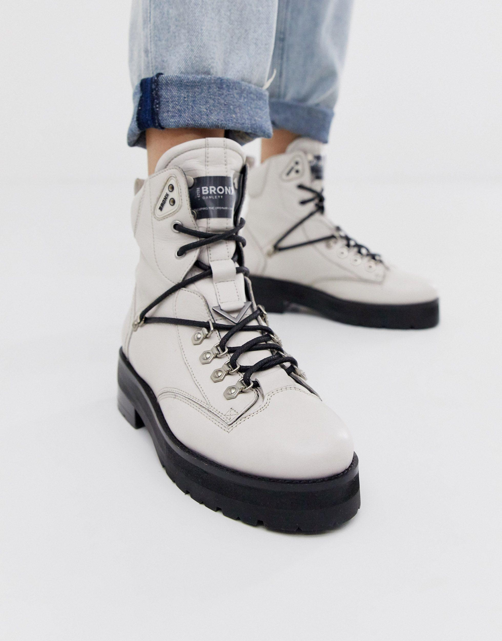 Bronx Off White Leather Hiker Boots - Lyst