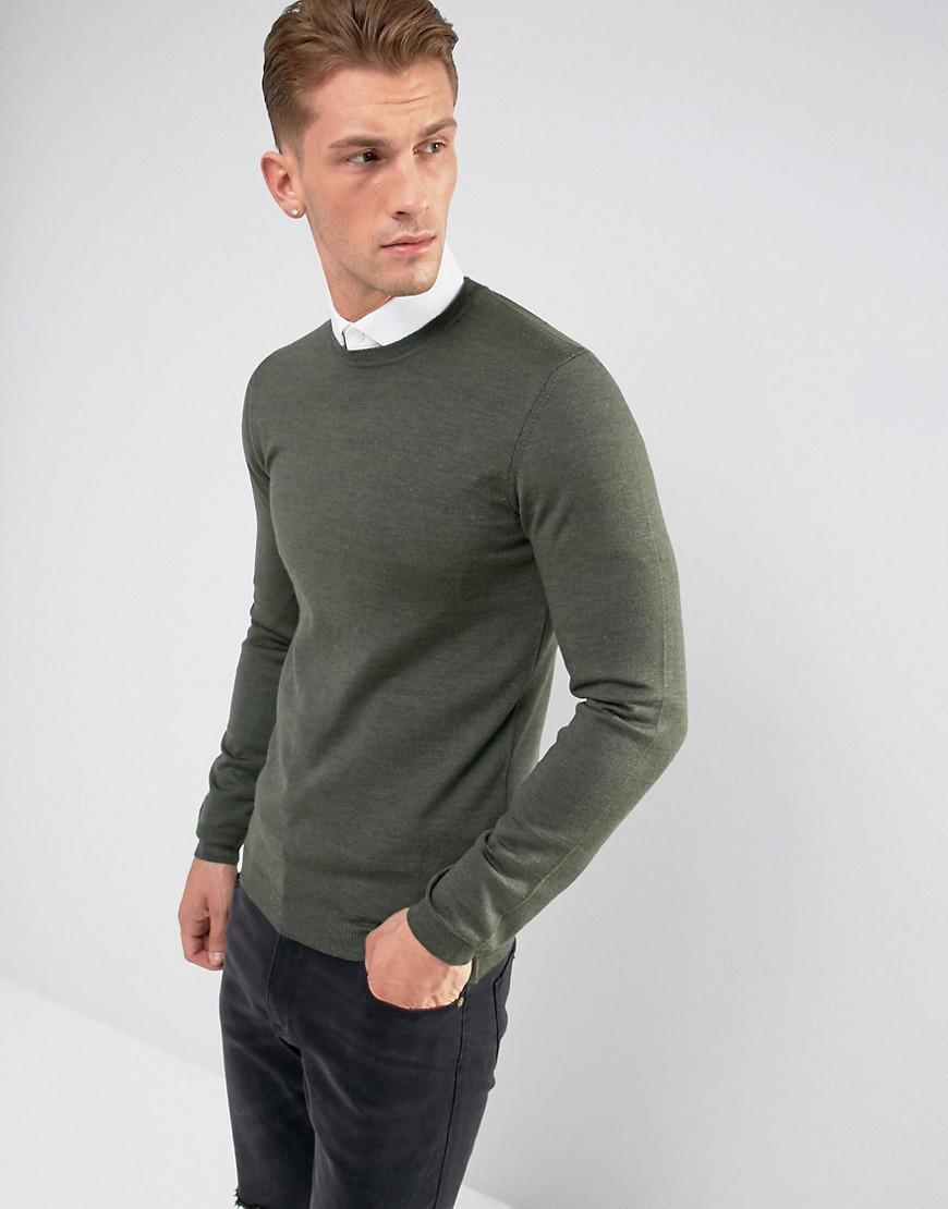 adea5beb Lyst - ASOS Asos Muscle Fit Merino Wool Jumper In Khaki in Green for Men