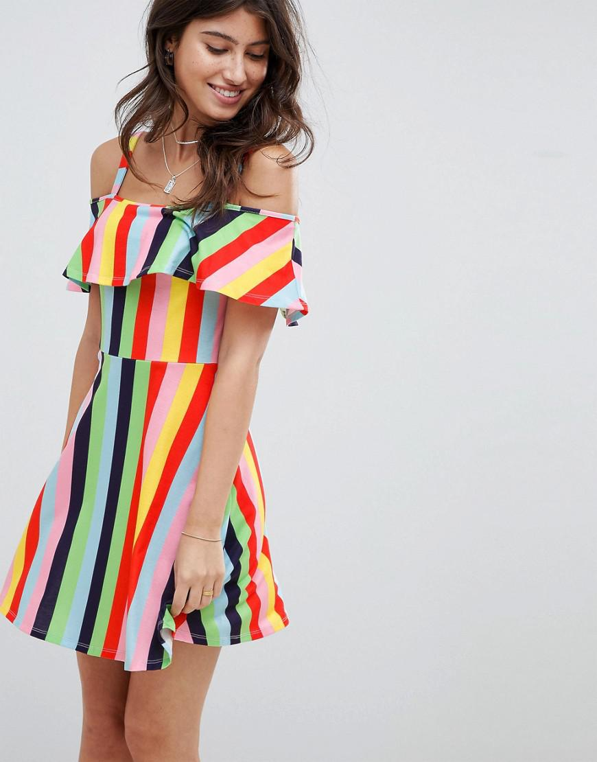 DESIGN wrap mini sundress with frill detail in bright stripe - Multi stripe Asos Fashion Style Cheap Price Discount Codes Clearance Store Discount Big Discount Cheap Enjoy Get To Buy M31bVh