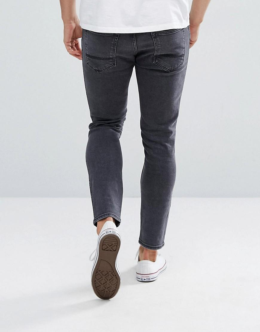 Mango Denim Man Skinny Jeans With Rips In Washed Black for Men