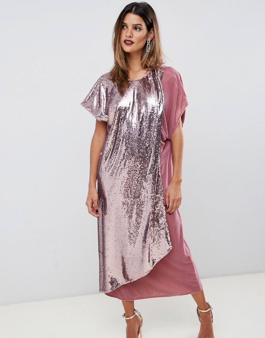 46afd98176 Lyst - ASOS Velvet And Sequin Mix Asymmetric Drape Midi Dress in Pink