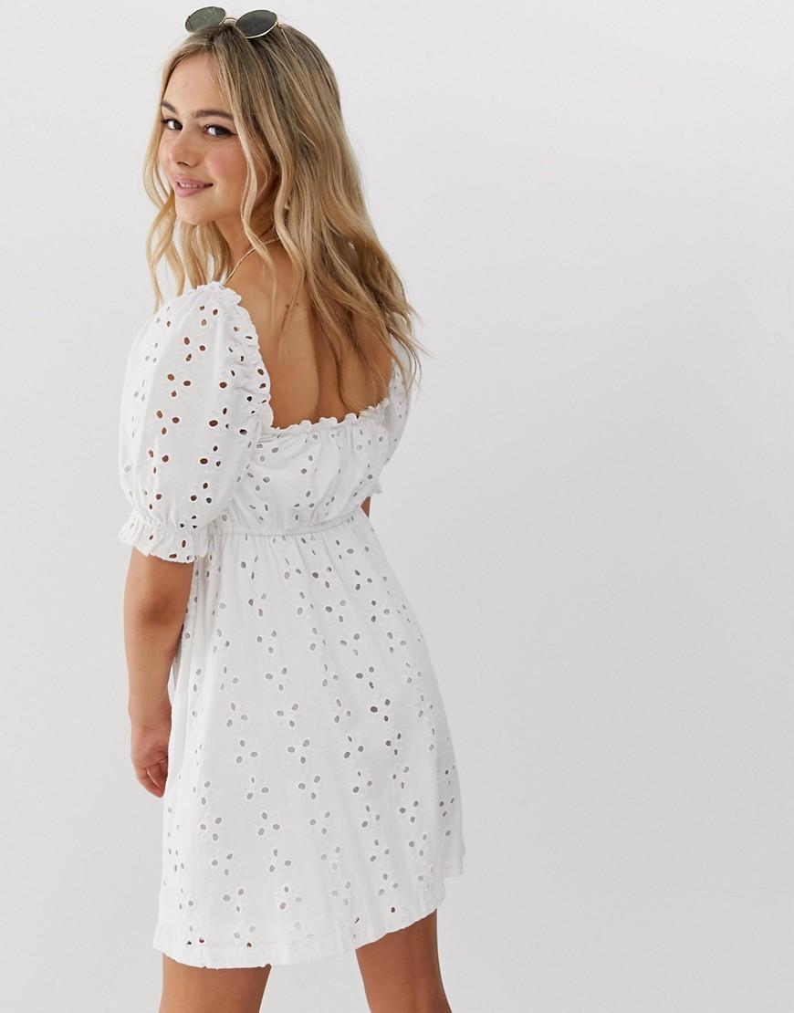 f9e00ebe0c3 ASOS Milkmaid Broderie Mini Dress in White - Lyst