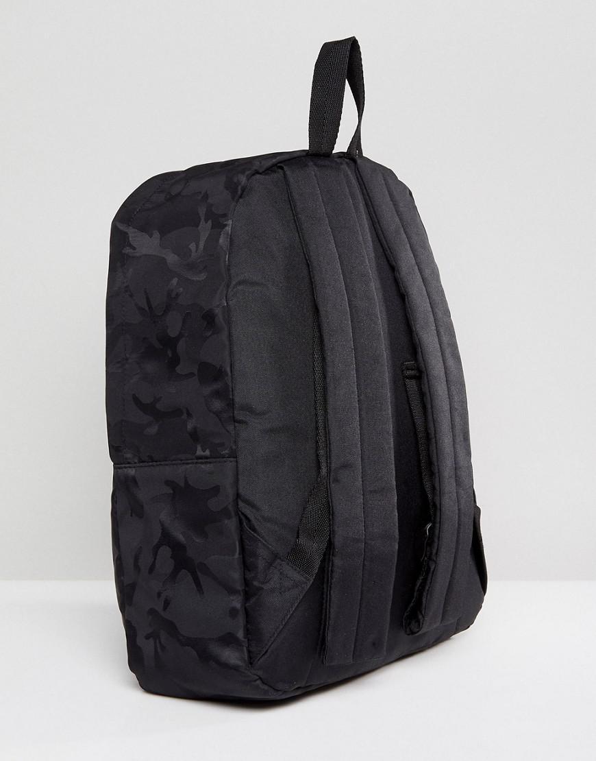 ASOS Denim Backpack In Black Camo Design for Men