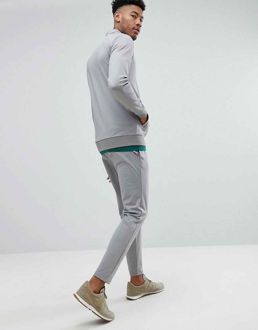 ASOS Denim Tall Tracksuit Harrington Jacket/ Skinny Joggers In Poly Tricot in Grey (Grey) for Men
