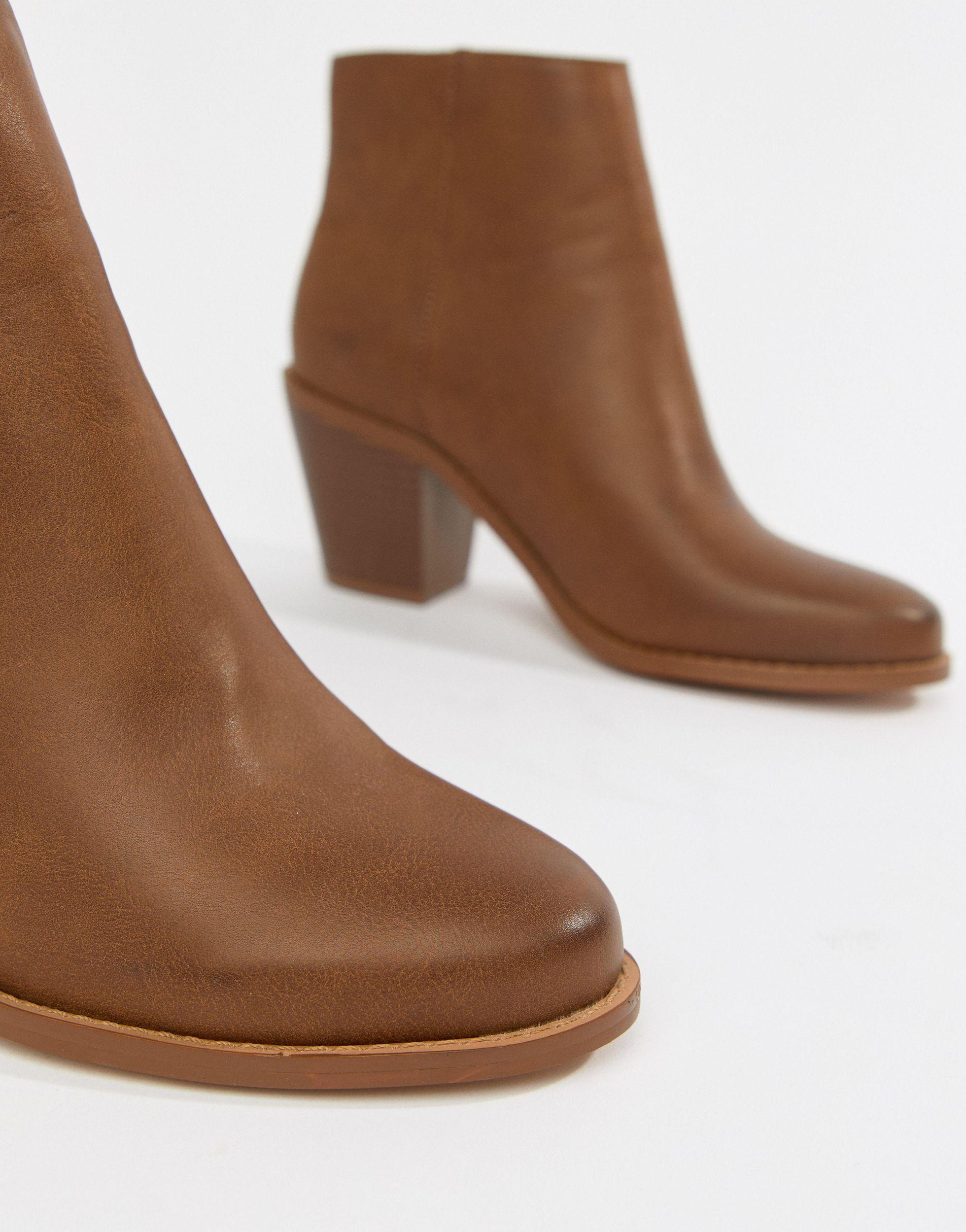 ASOS Denim Remedy Zip Ankle Boots in Tan (Brown)