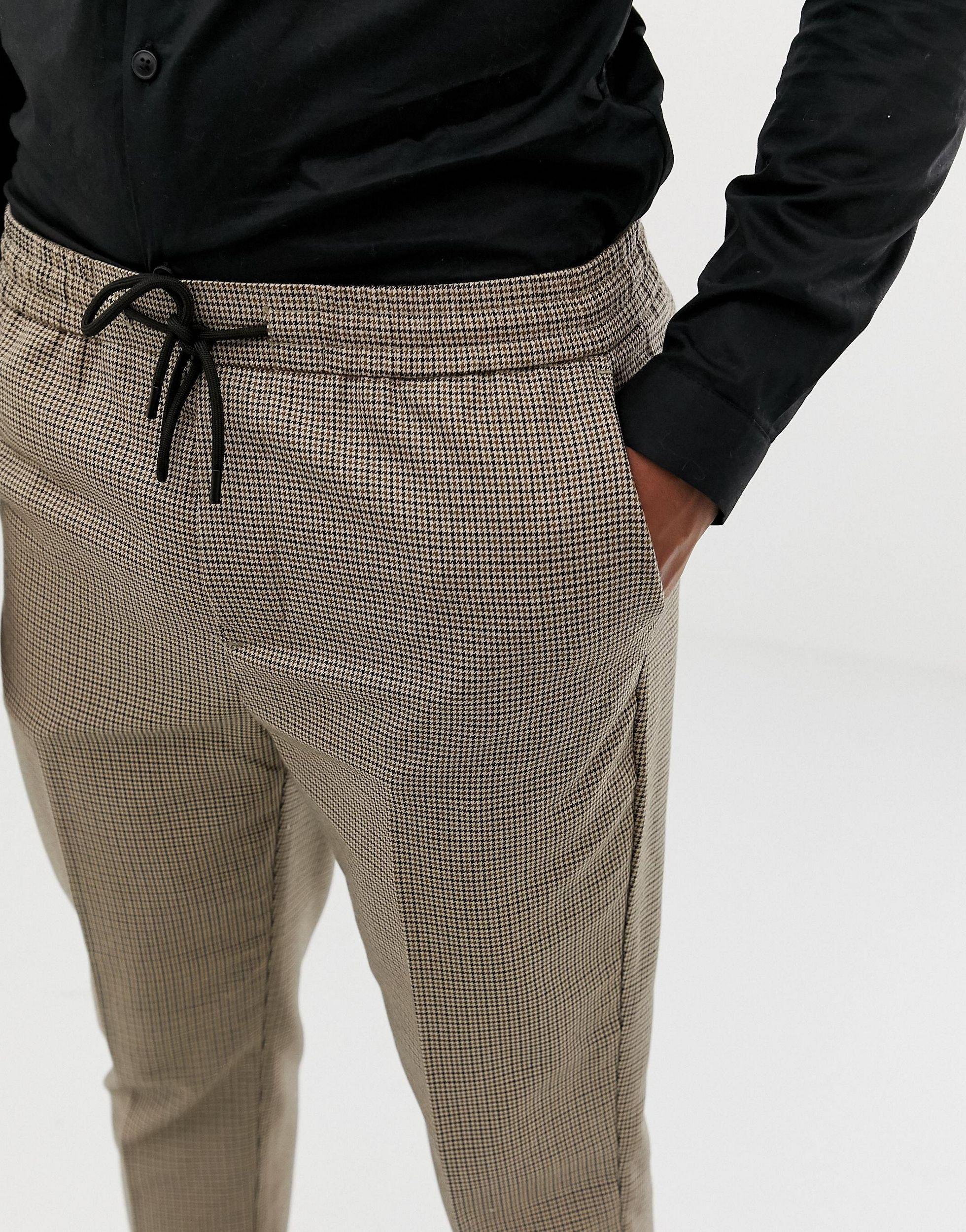 New Look Synthetisch Geruite Broek in het Grijs voor heren