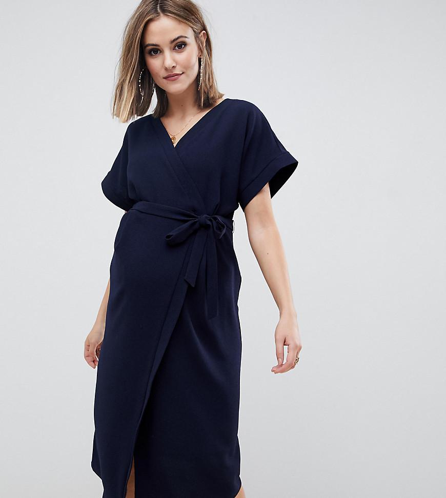 eb0e5748978f9 ... Asos Design Maternity Wrap Midi Dress - Lyst. View fullscreen