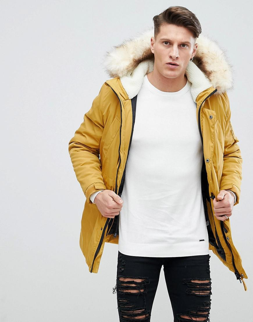 Mens Yellow Parka Jacket