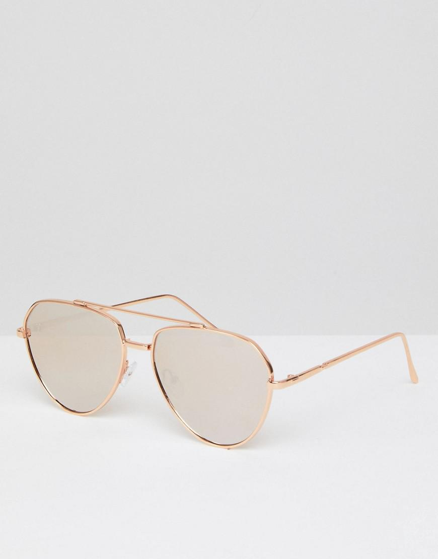 fedd1c4681 Lyst - ASOS Asos Angled Aviator Sunglasses In Rose Gold With Rose ...