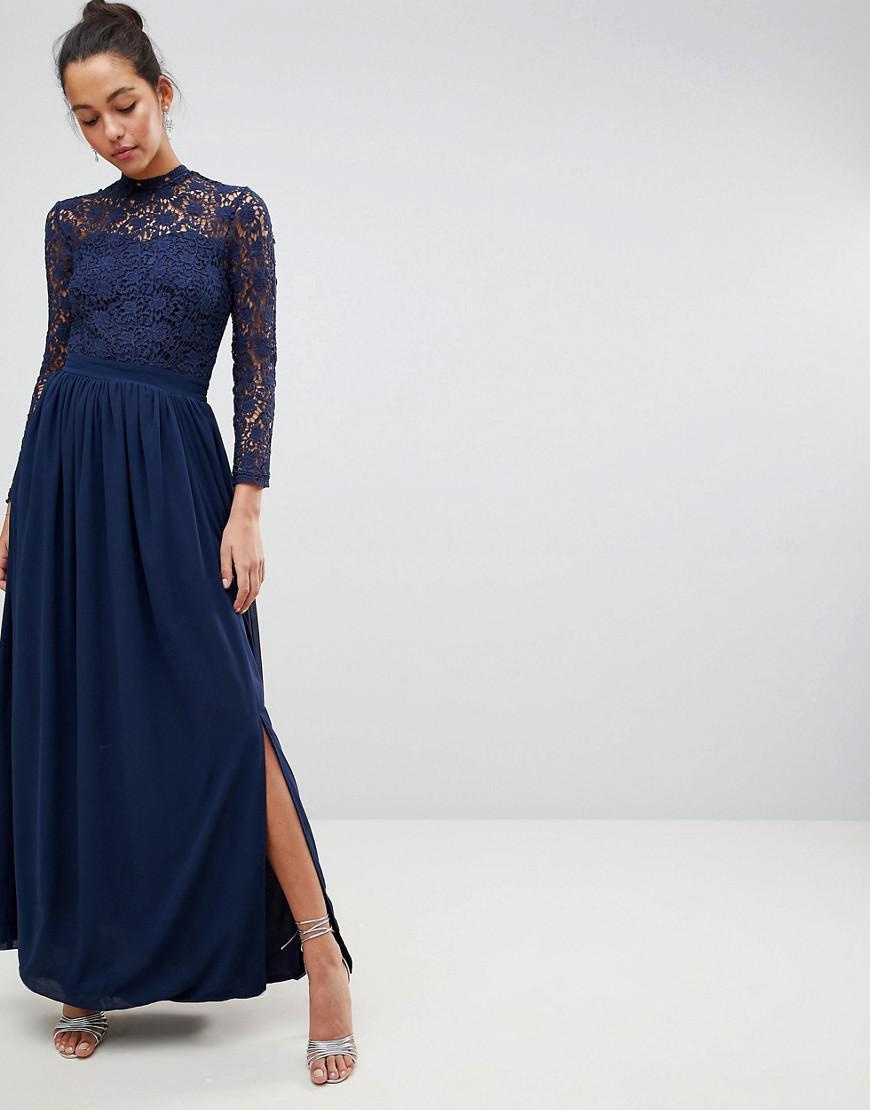 4bd97c46fb3d Club L High Neck Crochet Lace Maxi Dress With Long Sleeves - raveitsafe