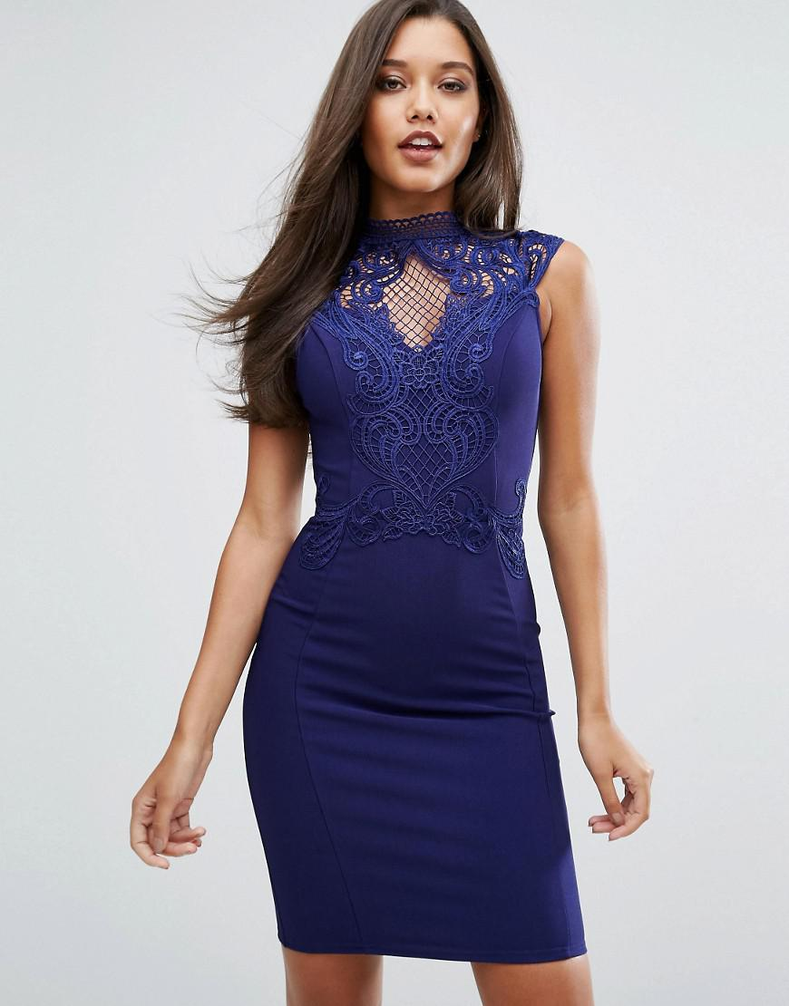 Michelle Keegan Loves High Neck Embroidered Lace Bodycon Dress