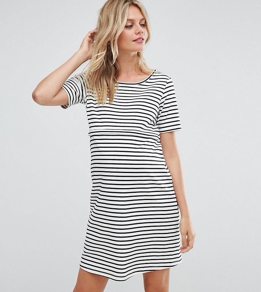 GeBe Maternity Bardot Off Shoulder Midi Bodycon Dress In Stripe - Navy/white strpe GeBe Free Shipping Low Cost Choice Sale Online 8YvX92Jj