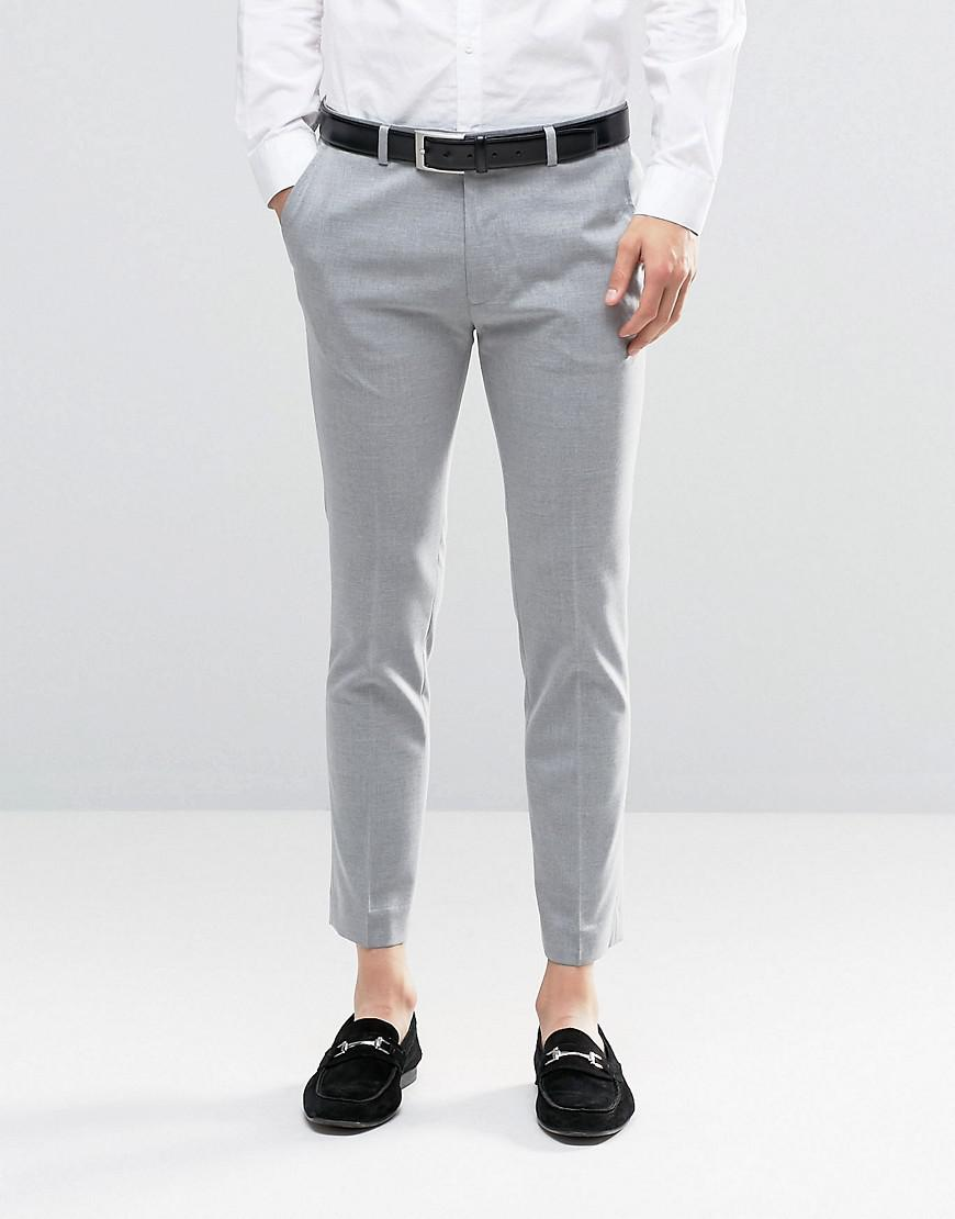 26484f7b1443 ASOS Super Skinny Smart Crop Trousers In Grey in Gray for Men - Lyst