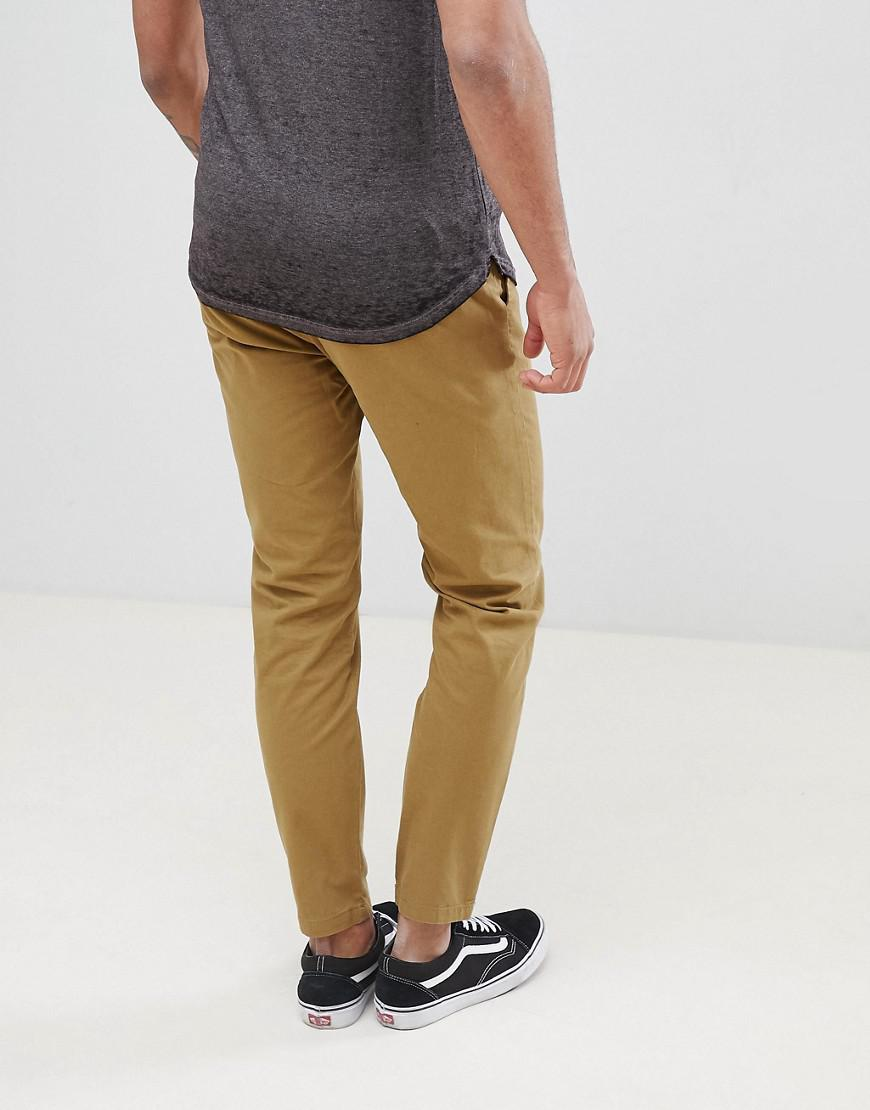 D-Struct Denim Tall Elastic Waist Cropped Chino Pants in Green for Men