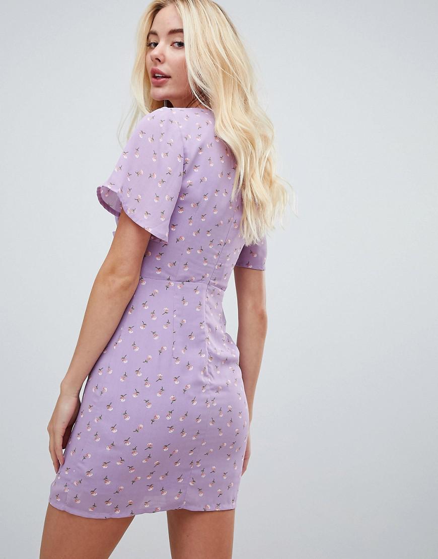 Fleurs Robe Et Plongeant Décolleté Purple Motif À Fashion Union Coloris En XZiPkwOuT