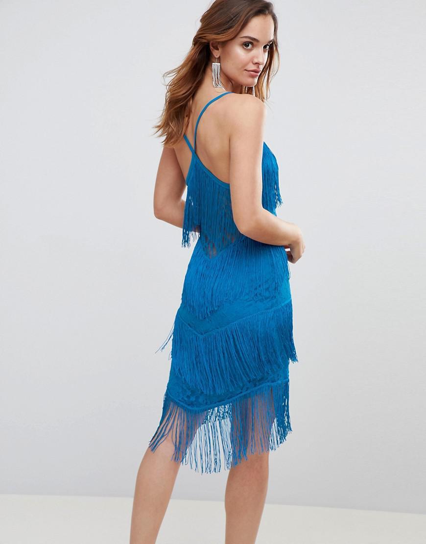 Asos fringe & lace plunge bodycon mini dress