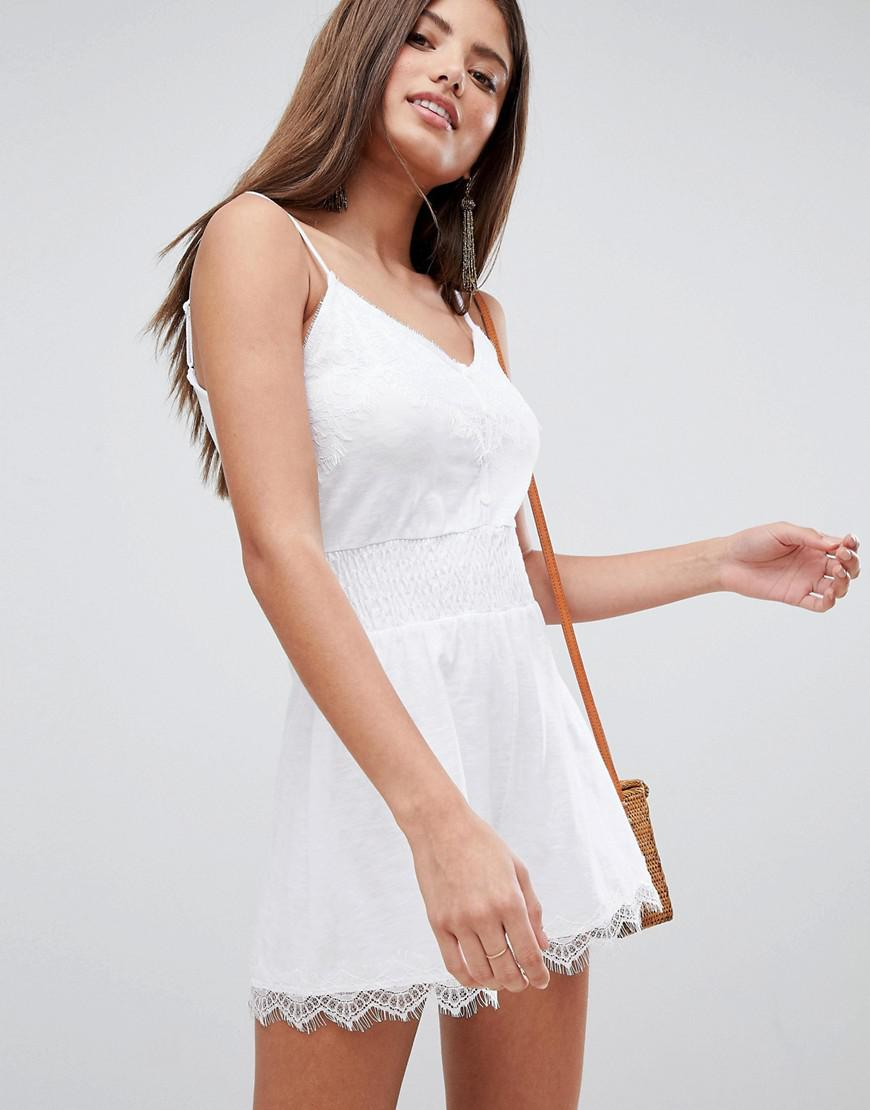 81e27ce0a61 Lyst - Asos Cami Playsuit With Shirred Waist And Lace Trim in White