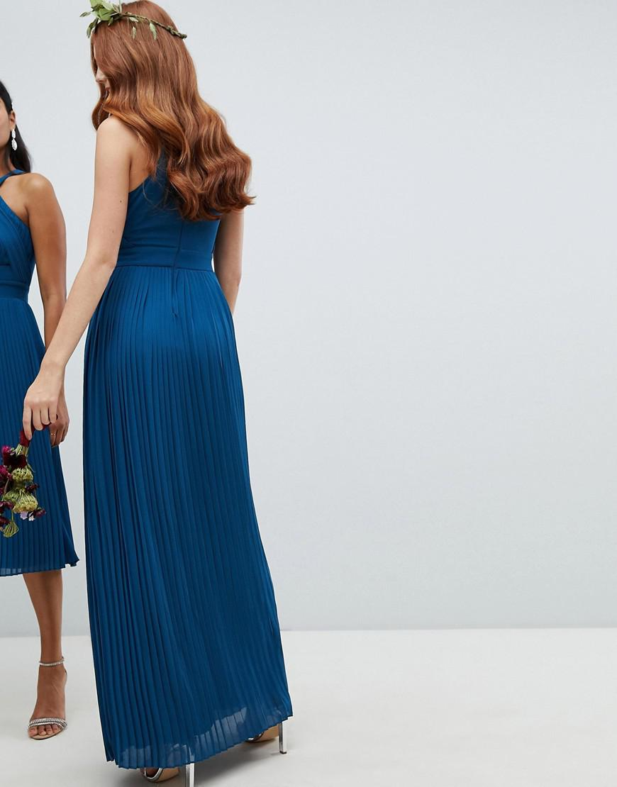 52a256bab62 TFNC London Pleated Bridesmaids Maxi Dress In Petrol Blue in Blue - Lyst