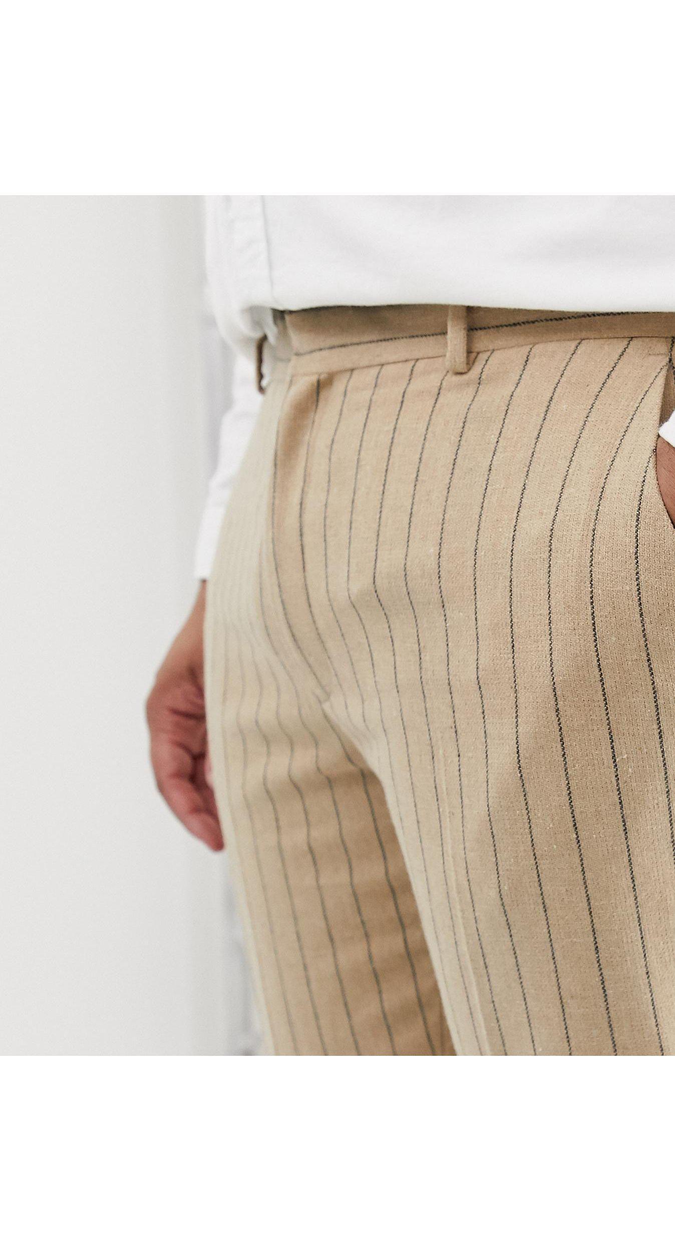 ASOS Denim Plus - Skinny Crop Smalle Broek in het Naturel voor heren
