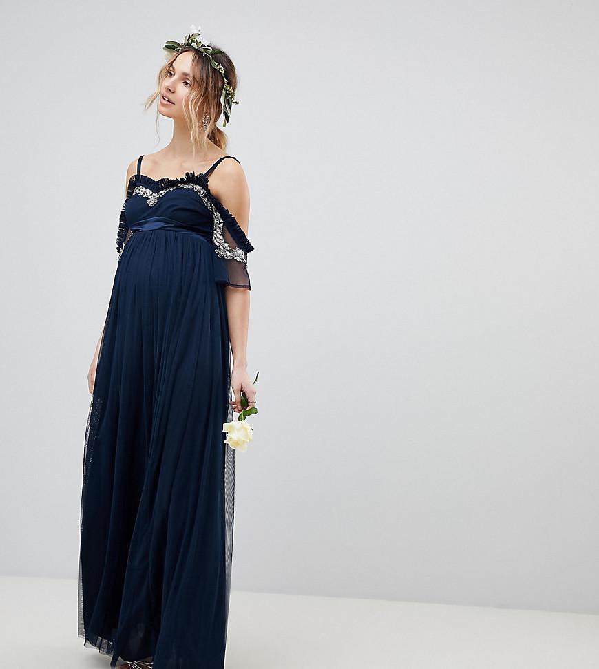 619c7387ec0 Maya Maternity. Women s Blue Cold Shoulder Sequin Detail Tulle Maxi Dress  ...