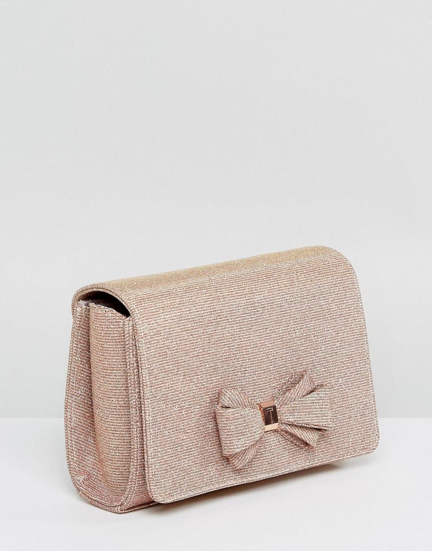 7ad2c5238 Lyst - Ted Baker Kimmeyy Glitter Bow Evening Bag in Metallic