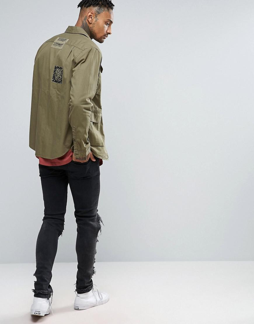 ASOS Cotton Overshirt With Four Pockets in Green for Men