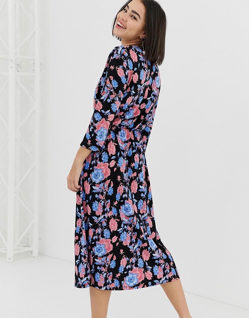 2562c72c248 Black Glitter Flocked Floral Print Bardot Midi Dress - Gomes Weine AG