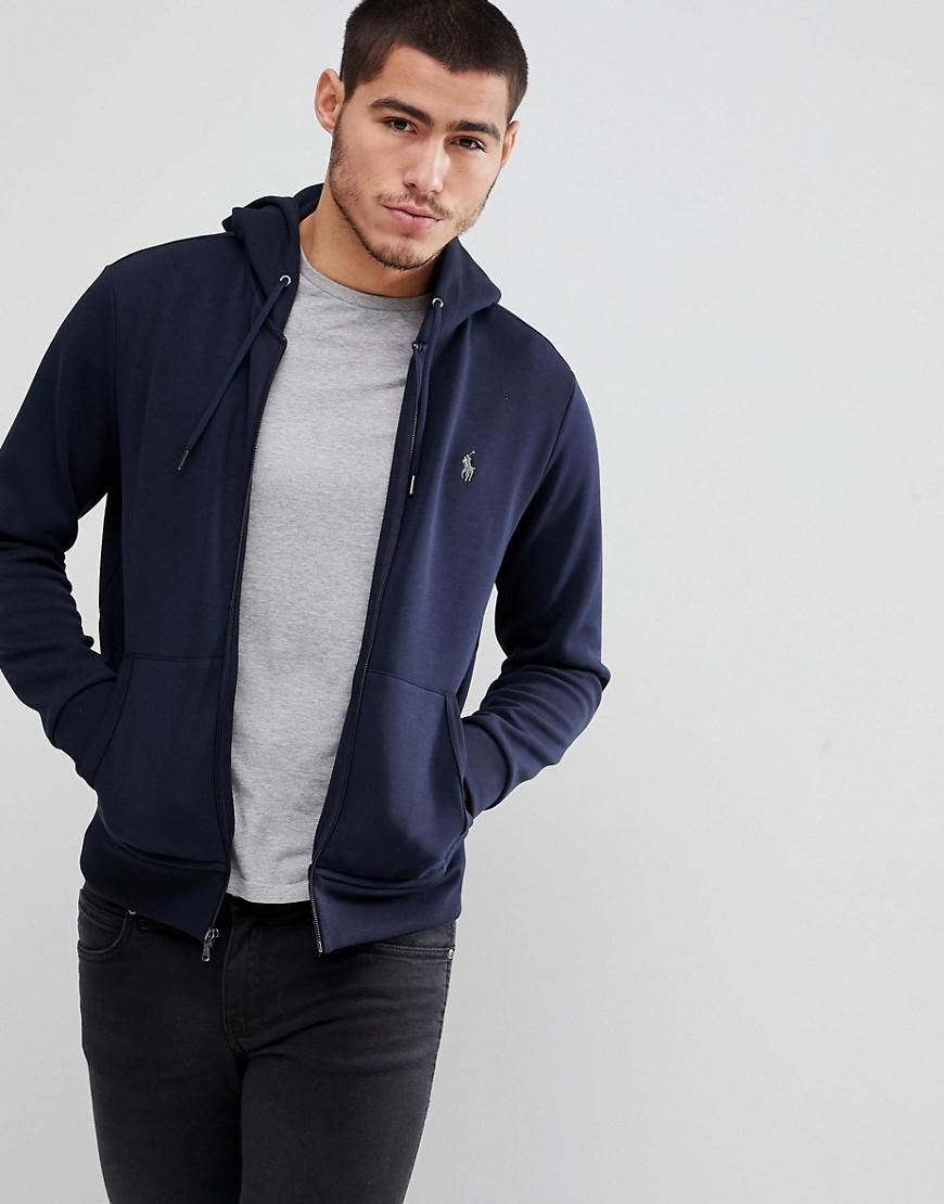 f73119160c15bf ... new arrivals polo ralph lauren. mens blue player logo full zip hoodie  in navy 4f8ce